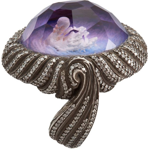Sevan Bicakci Swan Carved Amethyst Ring ($23,450) ❤ liked on Polyvore