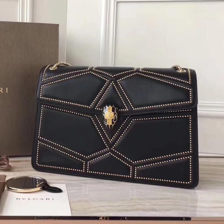 afb255038d5 Bvlgari Serpenti Forever Flap Cover Bag in Studded Leather 28cm Black 2017