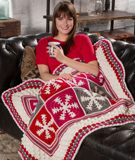 Snowflake Throw Free Crochet Pattern from Red Heart Yarns