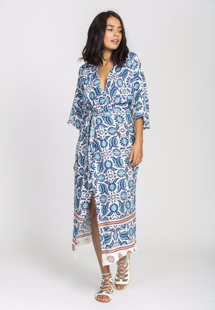 Solito - Farah Midi Dress In Marrakech With Waist Tie