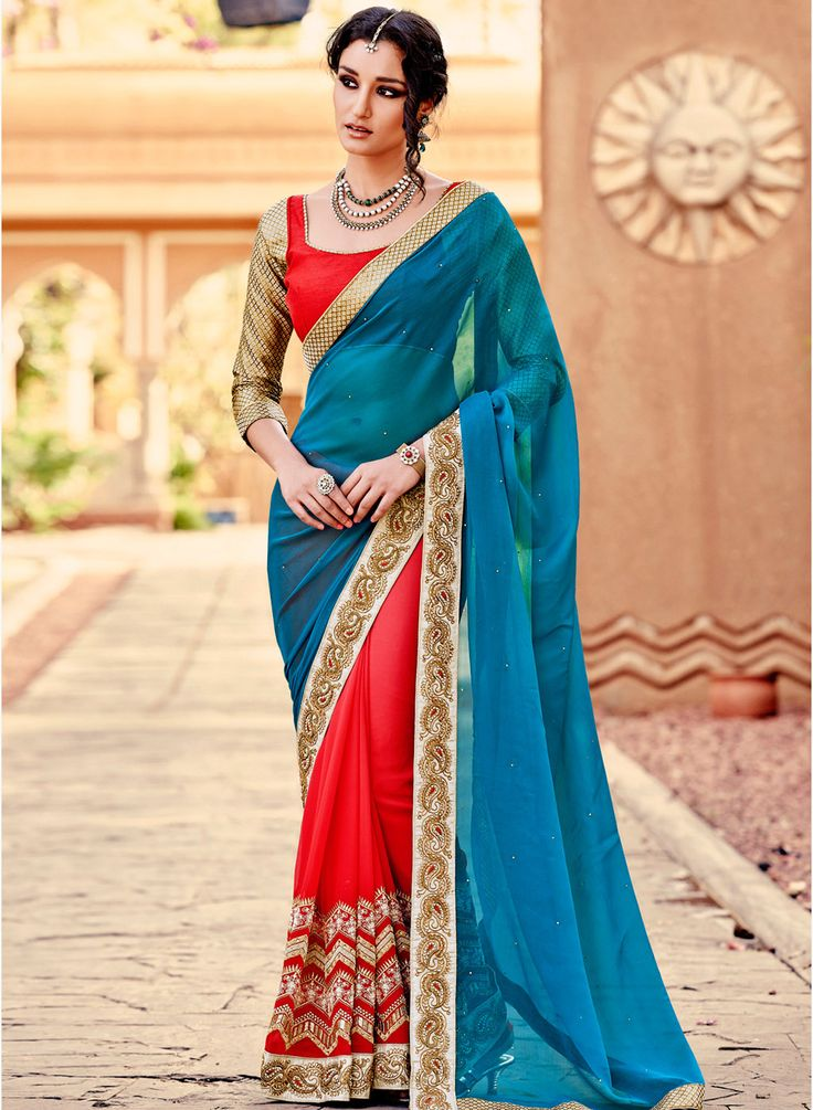 Transcendentally gorgeous is what you'll look in this wondrous blue saree! #Saree #Blue #Wedding #Party