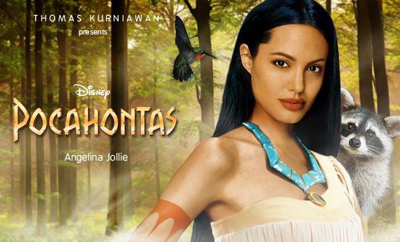 Angelina Jolie [as Pocahontas feat. Meeko & Flit] (Dream Cast by Thomas-Kurniawan @Blogspot) #Pocahontas