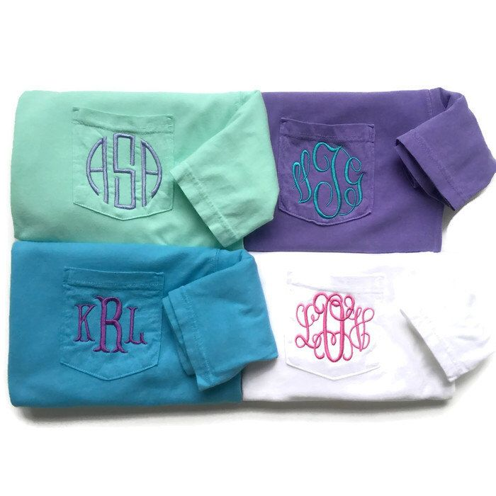 Monogram Shirt - Monogram Pocket Tee - Comfort Color Pocket Tees -Short Sleeve T Shirt - Monogrammed Clothing by TheInitialedLife on Etsy https://www.etsy.com/listing/156249024/monogram-shirt-monogram-pocket-tee