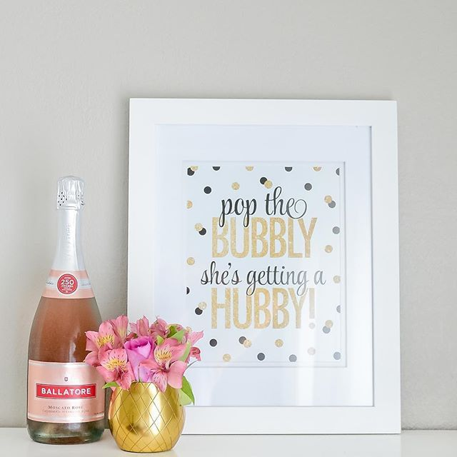 Pop The Bubbly She's Getting A Hubby - Black Gold Glitter Bachelorette Party Decorations, Bridal Shower Decor, Wine Bar Sign Printable by SprinkledDesigns.com