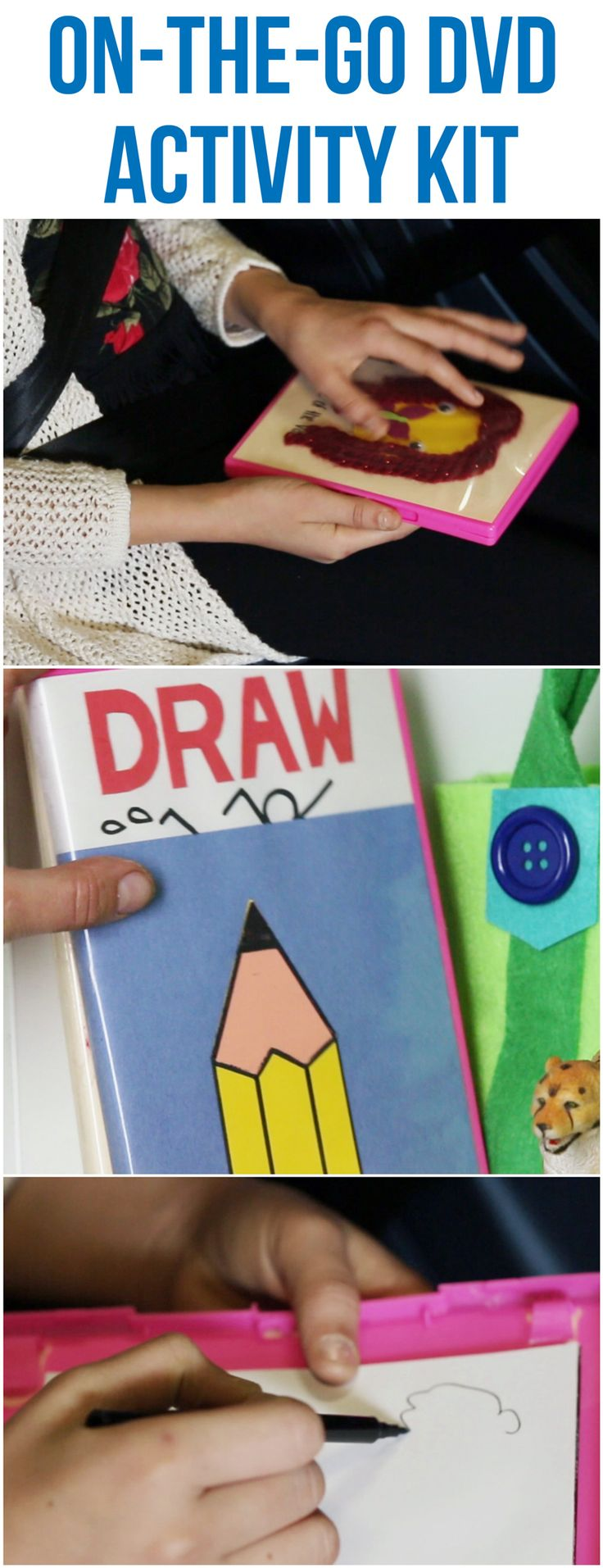 Transform an old DVD case into a drawing kit for kids