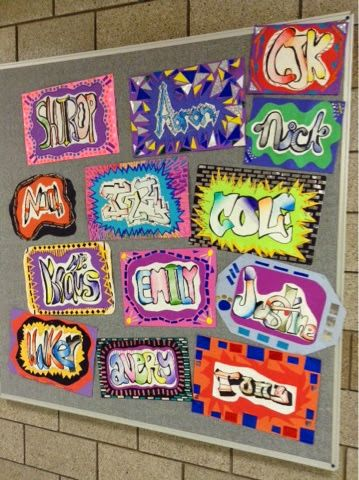 7th graders started their quarter off with a project inspired by this Blick lesson as well as the work of Andrew McCormick's students. To introduce the idea of graffiti, we talked about street art (th