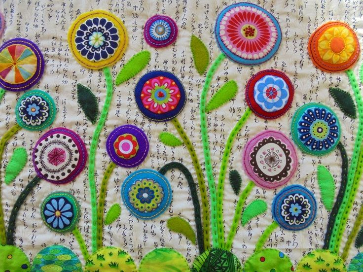 Wendy's quilts and more: Bloggers' Quilt Festival - Flower Garden wool felt applique