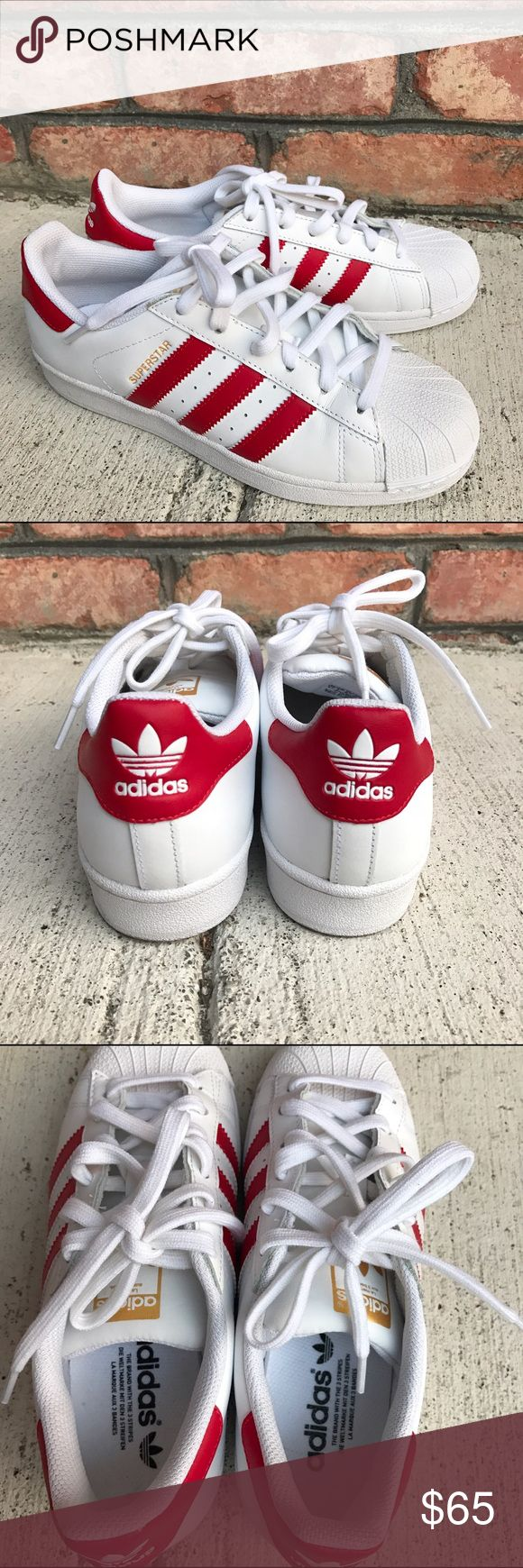 Red and white Adidas All Stars Only worn once for a shoot! Will not accept much lower price because they are a brand new pair of shoes! 6.5 men/ 8 women's Adidas Shoes Sneakers