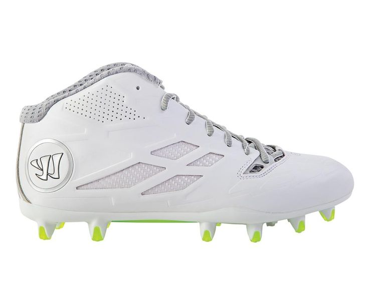 #LacrosseUnlimited #Warrior Burn Speed 8.0 Mid Cleat- White/Silver
