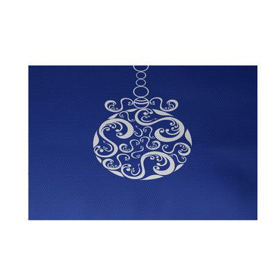 House of Hampton New Mills Decorative Holiday Print Royal Blue Indoor/Outdoor Area Rug Rug Size: