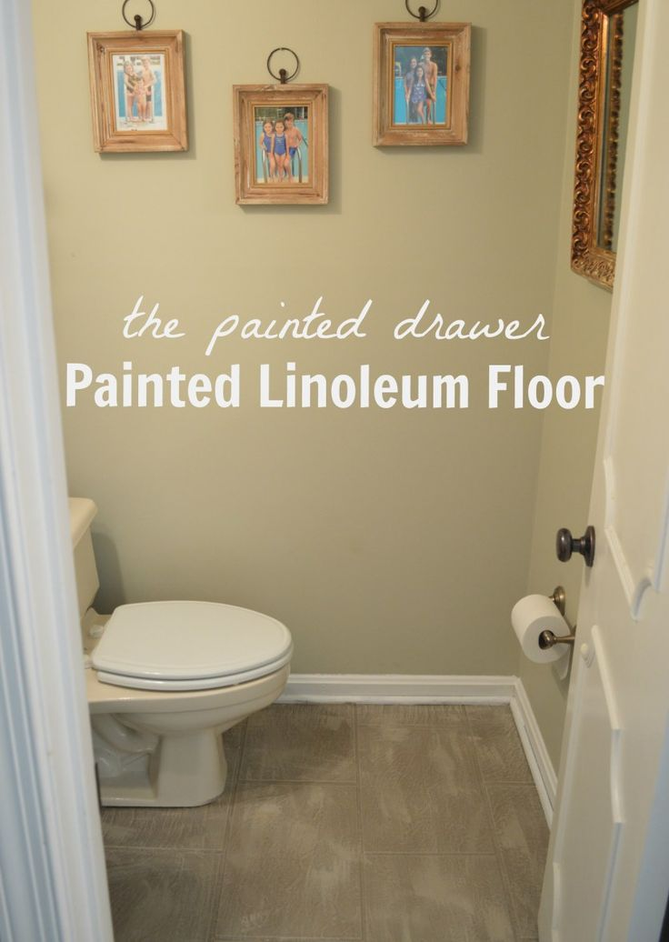 Painted linoleum floor bathroom pinterest verf for Can linoleum be painted