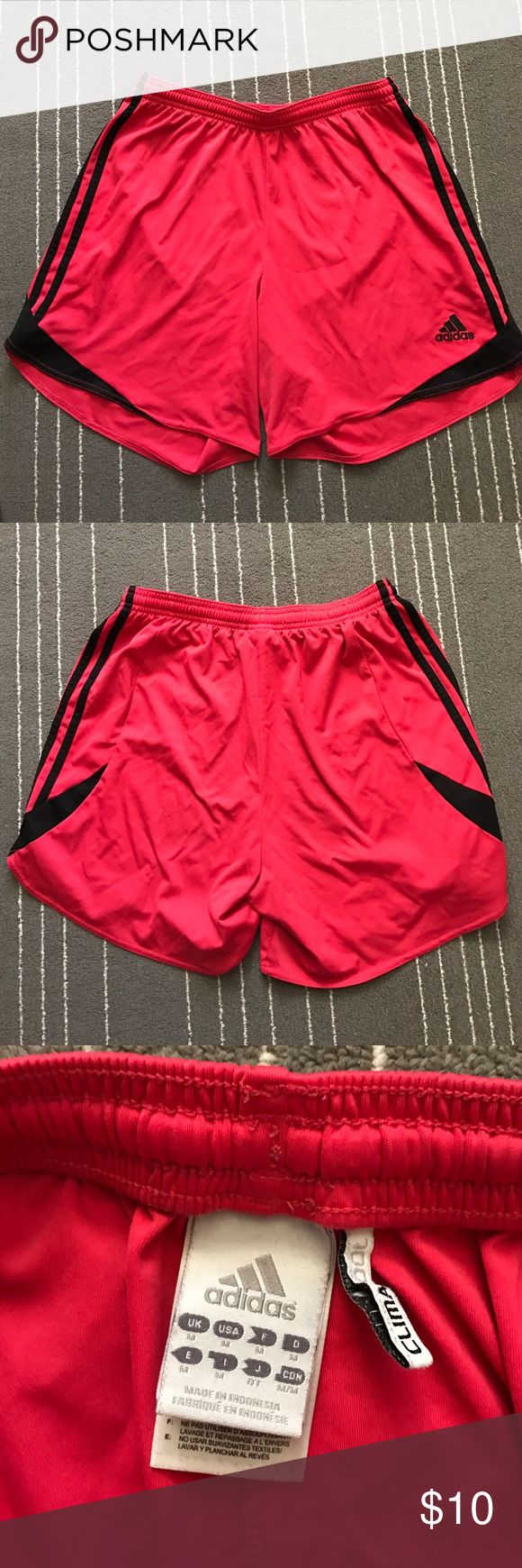 HOT PINK ADIDAS Soccer Shorts ADIDAS SOCCER SHORTS. IN GOOD CONDITION. Hot pink with black stripes down side! Adidas Shorts