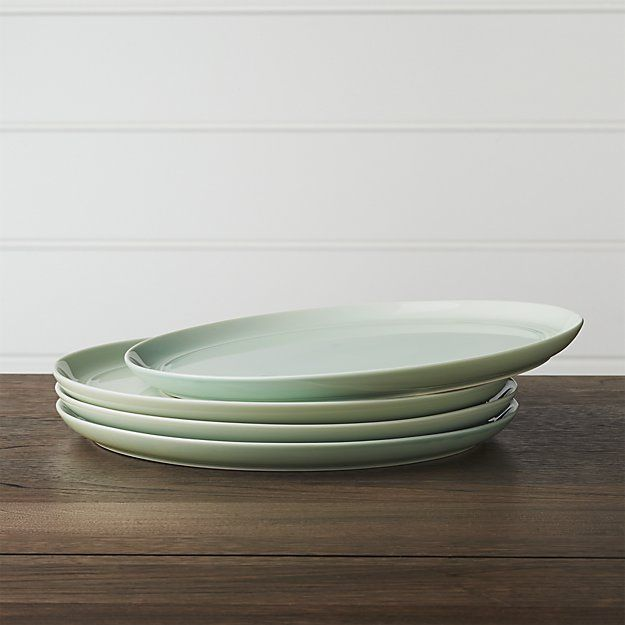 Set of 4 Hue Green Dinner Plates | Crate and Barrel