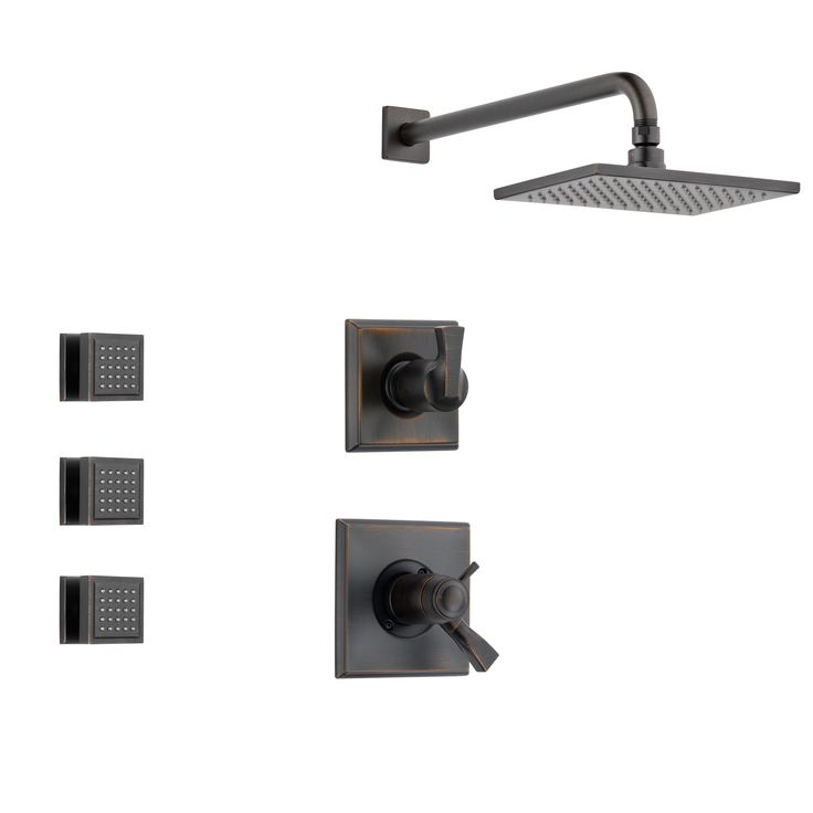 Delta Dryden Venetian Bronze Shower System with Thermostatic Shower Handle, 3-setting Diverter, Large Square Wall Mount Showerhead and 3 Body Sprays SS17T5183RB