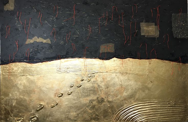 Mixed media, gold leaf, paste decorative, graphite, metallic net and thread on canvas 80x120.