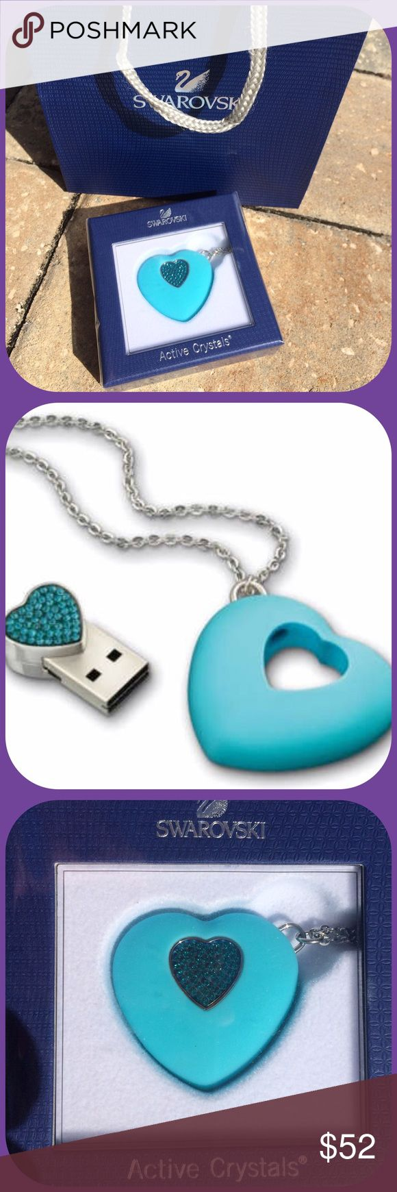 ✨HP✨SWAROVSKI Crystal Blue Heart Pendant 4G USB Swarovski Active Crystals, trendy & innovative  this funky accessory is both a necklace and a USB key! Hanging on a stainless steel chain, the blue silicon heart holds a heart-shaped USB key embellished in 54 Blue Zircon Crystals NEW in BOX, comes with SWAROVSKI gift bag.✨HP by @mandapanda a tribute to @blueskyaction Sarah✨ Swarovski Jewelry