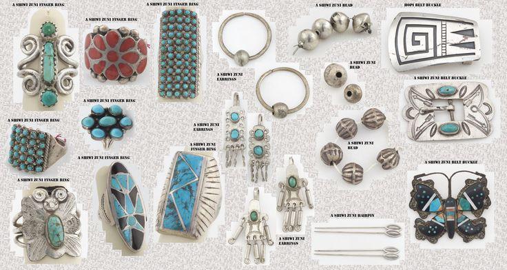Gioielli  Zuni e Hopi. Le popolazioni Puebloan, prima del contatto con la cultura spagnola, non lavoravano i metalli. Le rare campanelle di rame, fuse a cera persa, ritrovate in alcuni siti, del sudovest precolombiano, sono probabilmente di origine mesoamericana. I Pueblo, come i Navajo, inseguito ai contatti con la cultura ispanica, divennero abili produttori d'ornamenti d'argento, spesso in questi sono incastonate delle turchesi.