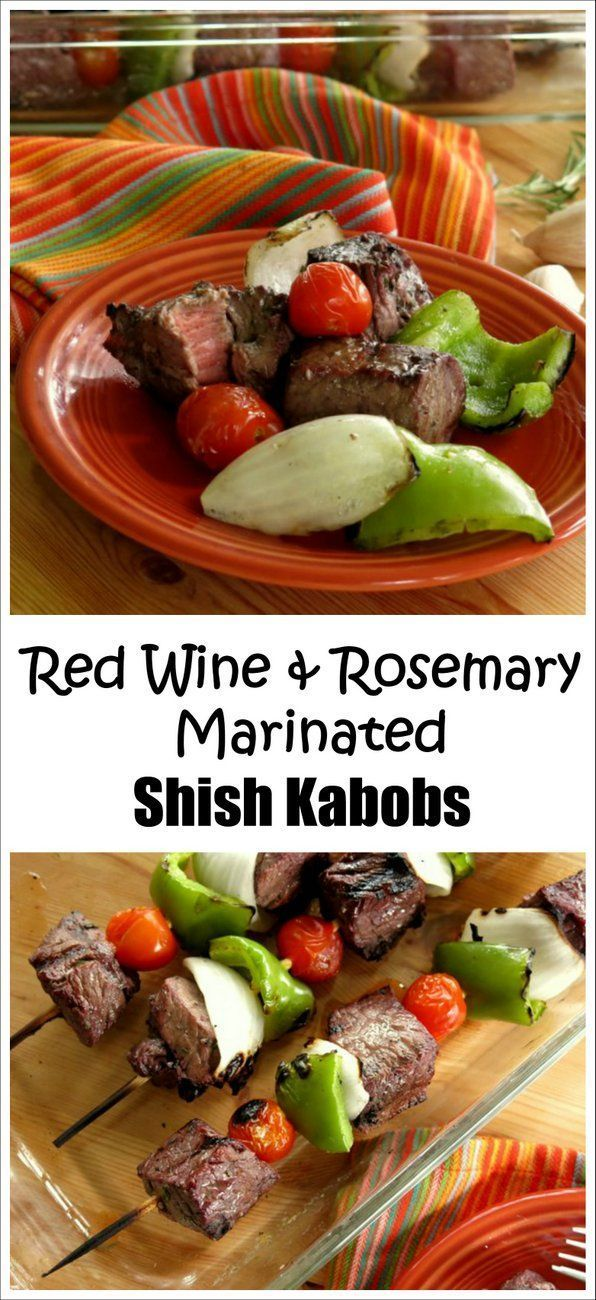 Beef Shish Kabobs soaked in Red Wine and Rosemary Marinade are sooo delicious, It will be your favorite grilling recipe! #SundaySupper