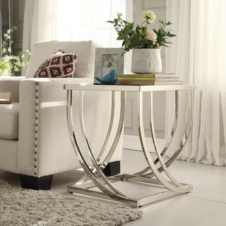 @Overstock - TRIBECCA HOME Anson Steel Brushed Arch Curved Sculptural Modern End Table - Stainless steel brushed nickel pucks are fused to a black tempered glass top, ultra contemporary design allows for placement in the most modern of homes.  http://www.overstock.com/Home-Garden/TRIBECCA-HOME-Anson-Steel-Brushed-Arch-Curved-Sculptural-Modern-End-Table/7502660/product.html?CID=214117 $224.39