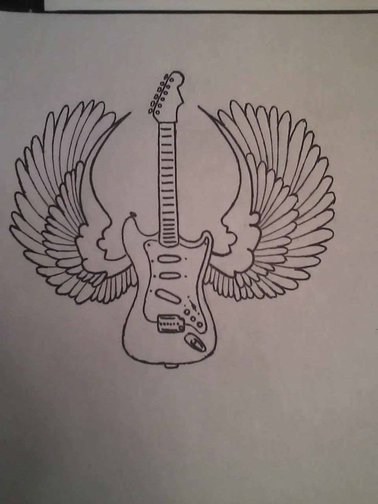 20 Acoustic Guitar With Wings Tattoos Ideas And Designs