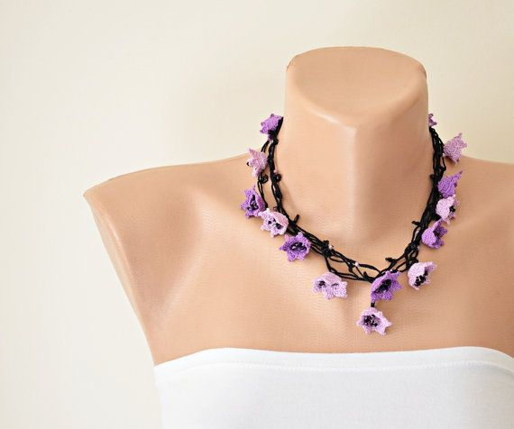 Purple / Lavender Flowers Crochet Necklace