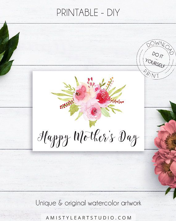 Floral Mothers Day Handmade Card - Happy Mother's Day Card - beautiful calligraphy with watercolor flowers for the lovers of the vintage style.This beautiful printable Mothers day card is prepared in high-resolution PDF and JPG file, so you can DIY print it at home or at your local copy shop by Amistyle Art Studio on Etsy