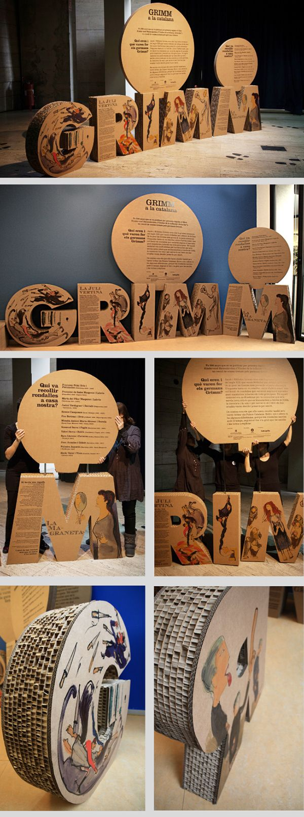 GRIMM a la Catalana: Projecte expositiu itinerantTravelling exhibition that shows the differences in the original stories comparing them GRIMM Catalan versions. Presentation made with cardboard to facilitate weight during transport, as it is an exhibitio…