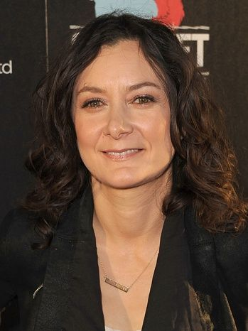 Sara Gilbert wears her Engraved Gold Bar Necklace almost daily on The View