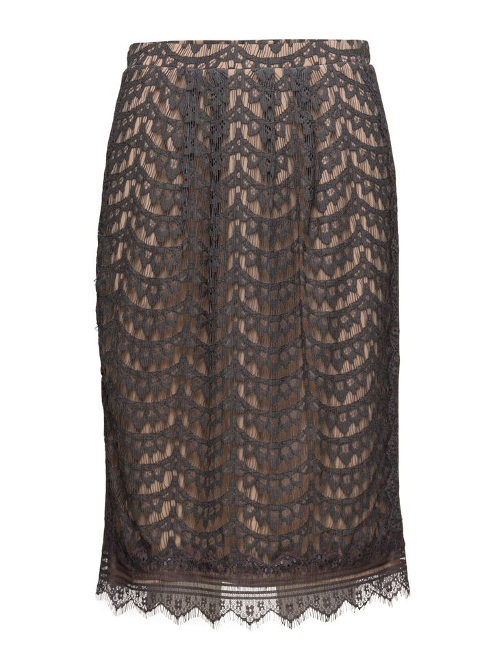 DAY - Day Lavanny Concealed back zip closure Crochet lace overlay Fringe detail Inner lining Pencil shape Elegant and feminine Refined