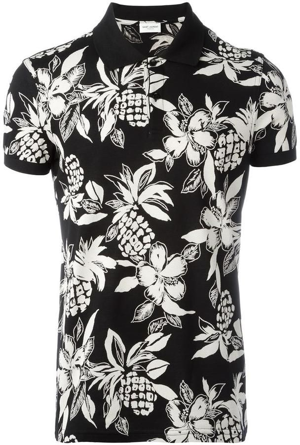 Saint Laurent Hawaiian hibiscus print polo shirt