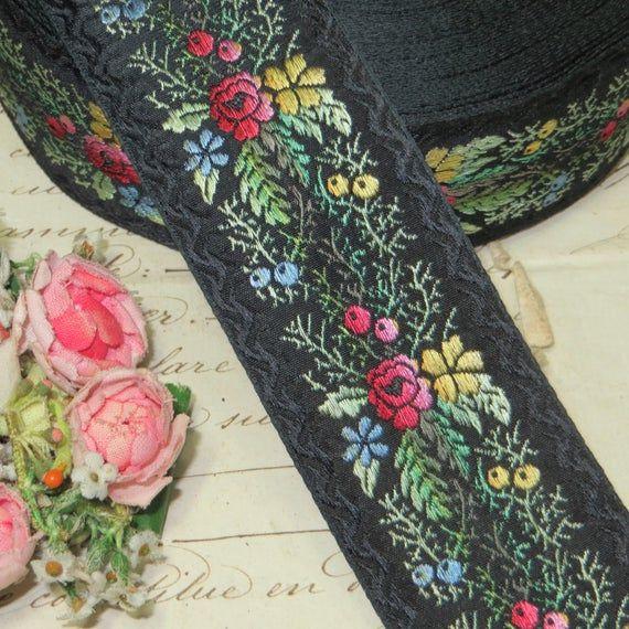 1y  VTG FRENCH PINK ROSES FLOWER JACQUARD RIBBON WORK TRIM DOLL DRESS HAT LACE