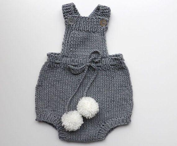 Macacão em trico para bebé  merino e algodão by pontinhosmeus