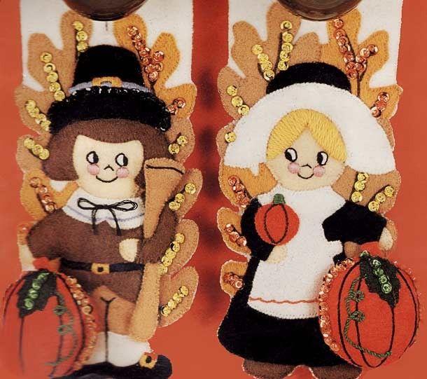 THANKSGIVING Pilgrim Couple Felt   Make!~Felt Dolls ...