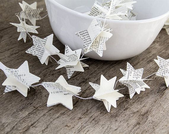 Paper garland bunting, wedding garland decor, star garland, christmas decor, recycled book garland, party home decor, nursery banner on Etsy, $8.00