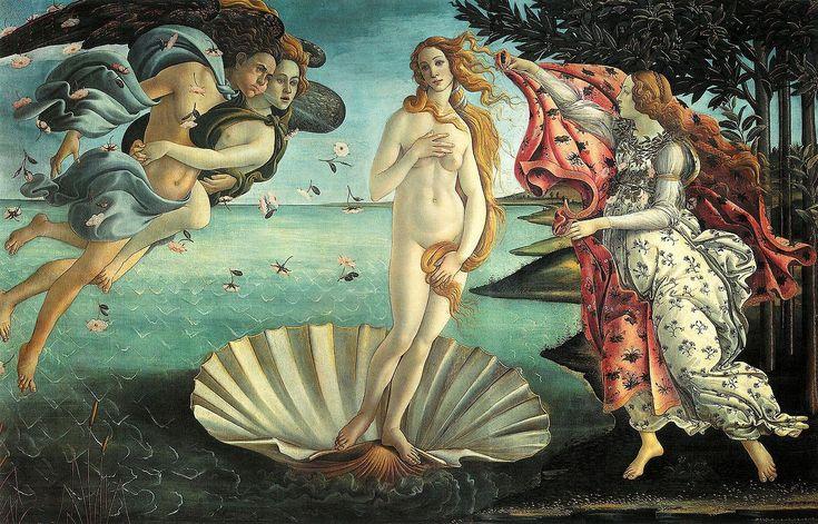 """""""O Nascimento de Vênus"""", é uma pintura de Sandro Botticelli,está exposta na Galleria degli Uffizi, em Florença, na Itália. ( Gênero utilizado: Histórico, mitologia e religião (mais apreciado)."""