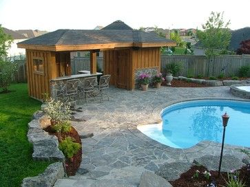 Pool Side Sheds with Bars | Pool Shed with Bar Area traditional garage and shed
