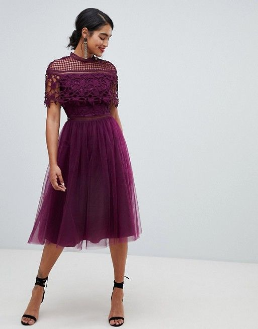 c441d4066906 Chi Chi London 2 in 1 lace top midi dress with tulle skirt in deep ...