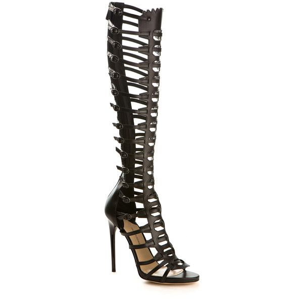 Paul Andrew Athena Gladiator High Heel Leather Sandals ($1,725) ❤ liked on Polyvore featuring shoes, sandals, heels, kohl shoes, black sandals, leather sandals, gladiator sandals and black shoes