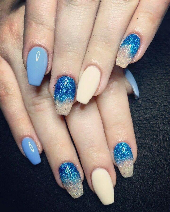 #bluenails #creamnails #nudenails
