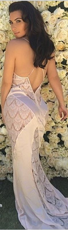 Who made  Kim Kardashian's nude lace gown