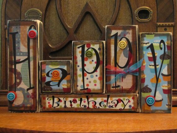 Happy Birthday Sign Word Blocks by PunkinSeedProduction on Etsy, $36.00