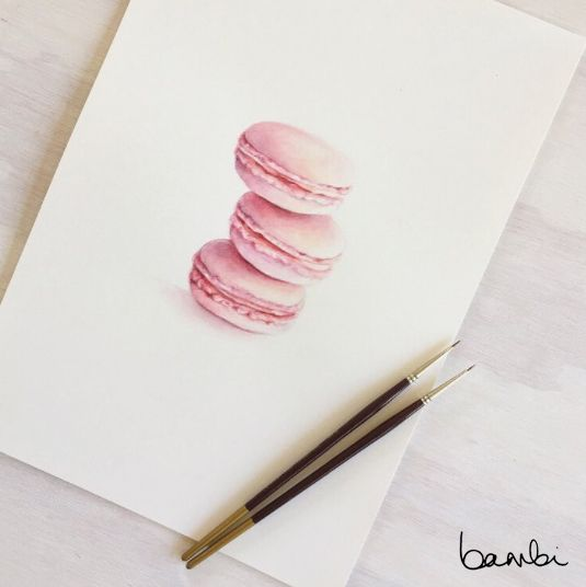 Good things come in threes. This watercolour painting of pink Laduree macarons is as tempting as ever. Perfect for a little girl's bedroom, paired with whites, gold and pops of pastel.