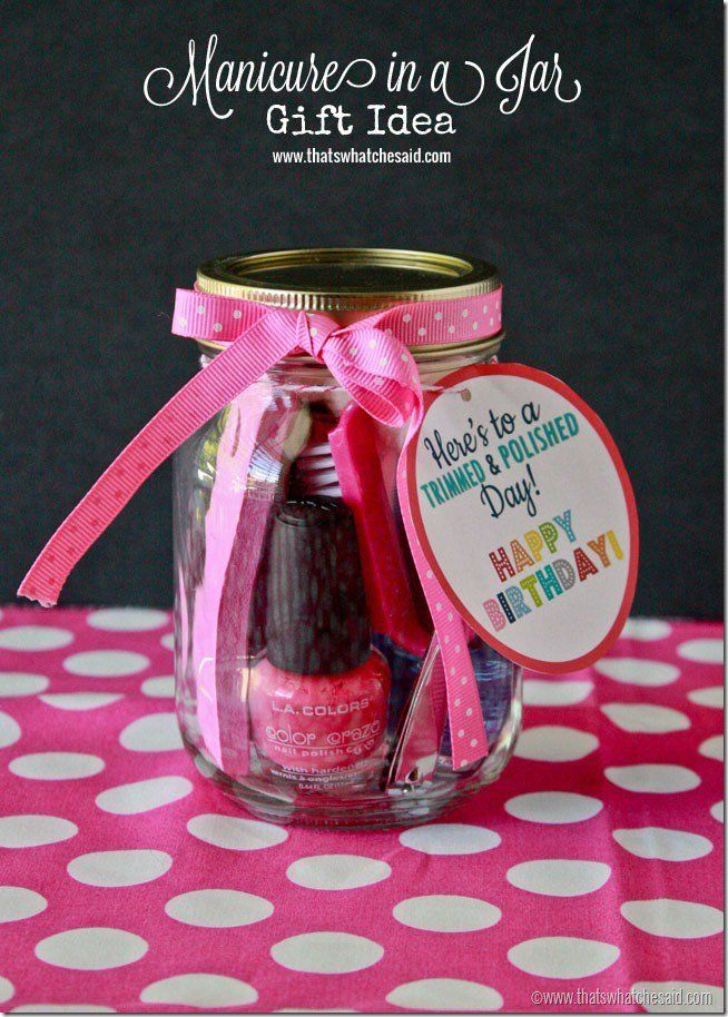 Manicure in a jar Birthday Gift Idea at thatswhatcheaid.net