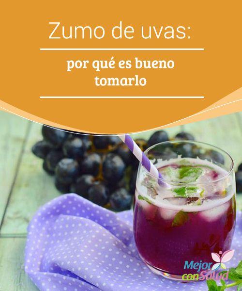 Zumo de uvas: por qué es bueno tomarlo  El zumo de uva nos hidrata tanto por dentro como por fuera y, gracias a sus contenidos de resveratrol, es capaz de ralentizar la aparición de signos de la edad