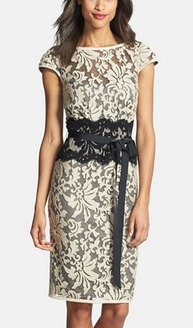 Embroidered Lace Sheath Dress by Tadashi Shoji. Make a black lace obi style belt.
