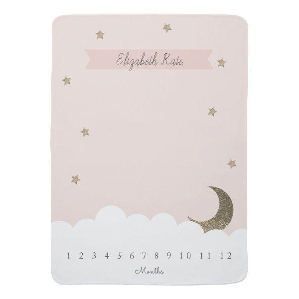 Gold Crescent Moon Stars Pink Girl Milestone Baby Blanket Zazzle Com Baby Girl Nursery Pink Baby Milestone Blanket Girl Nursery Pink
