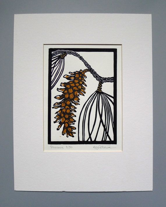 Pine Cone Block Print 11x14 Handmade Linocut by LinenAndPaper