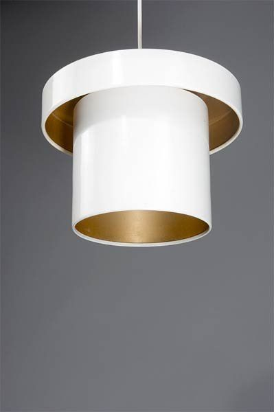 Alvar Aalto | 1950's Painted Metal and Perforated Brass Pendant Light for Artek