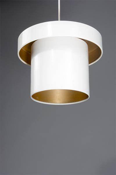 Alvar Aalto   1950s    painted metal and perforated brass pendant   Artek