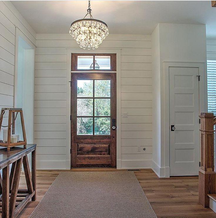 The front door, closet door, glass knobs and shiplap!!